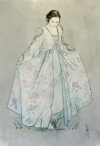 Watercolor painting of girl in renaissance or medieval dress by Jameson Gardner Art